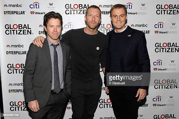 Global Citizen cofounder Ryan Galll Chris Martin and the Global Poverty Project CEO Hugh Evans attend the Global Citizen 2015 Launch Party at the W...