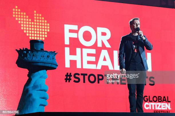 Global Citizen founder Hugh Evans speaks during the 2017 Global Citizen Festival at The Great Lawn of Central Park on September 23 2017 in New York...