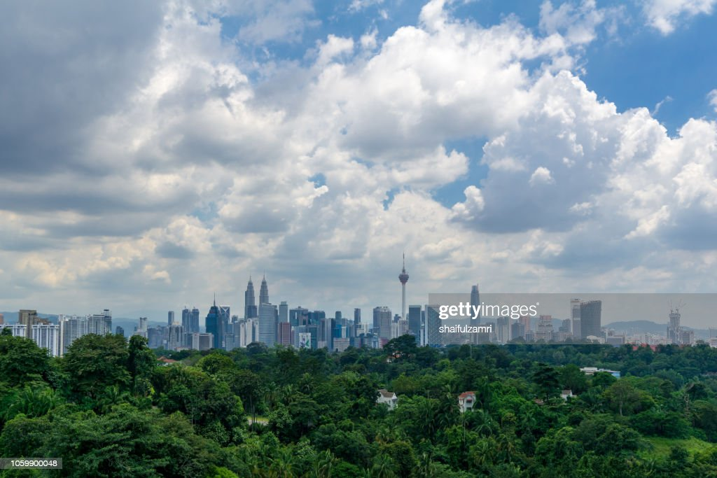 Global climate effects weather which sometimes bring flash flood in Kuala Lumpur. It may be caused by heavy rain associated with monsoon clouds. : Stock Photo