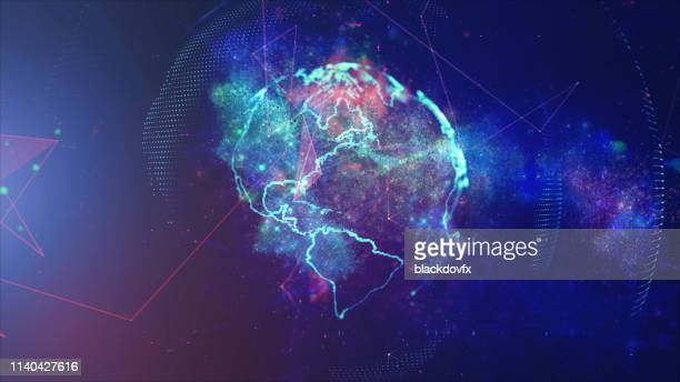 global communication concept. technological abstract background - world map stock photos and pictures
