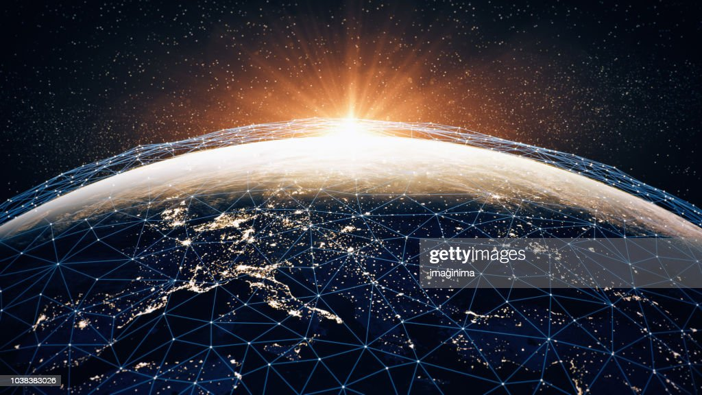 Global Communication Network (World Map Credits To NASA) : Foto stock