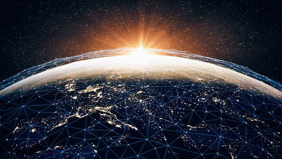 Global Communication Network (World Map Credits To NASA) 1038383026