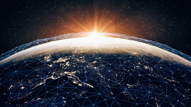 全球通訊網路 (世界地圖貸記美國宇航局) - 聯繫 個照片及圖片檔