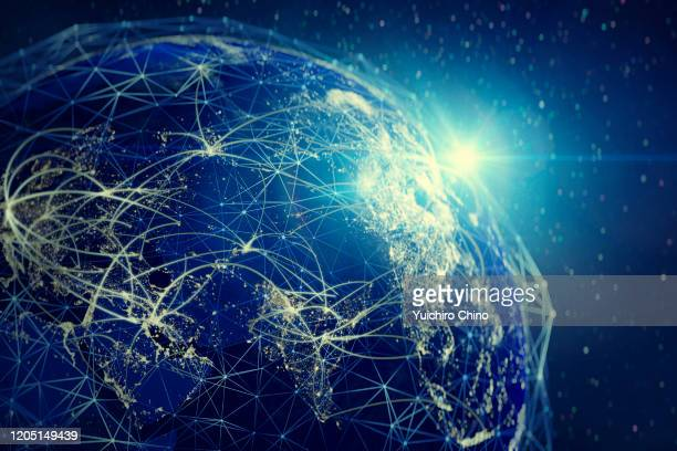 global communication network (world map credit to nasa) - globalization economy stock pictures, royalty-free photos & images