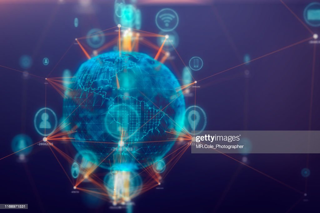 Global communications connect technology Icon on 3D space,Internet of things Concept,internet and global connection : Stock Photo