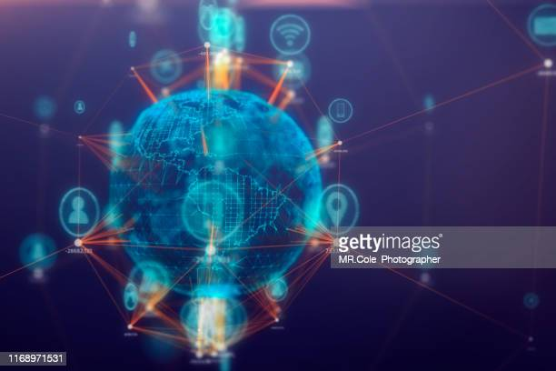 global communications connect technology icon on 3d space,internet of things concept,internet and global connection - financial technology stock pictures, royalty-free photos & images