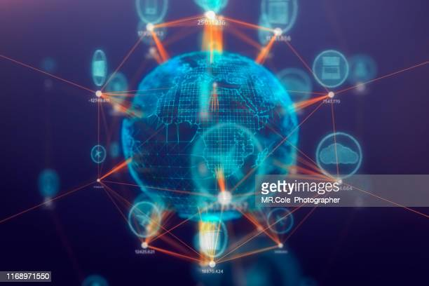 global communications connect technology icon on 3d space,internet of things concept,internet and global connection - europa kontinent stock-fotos und bilder