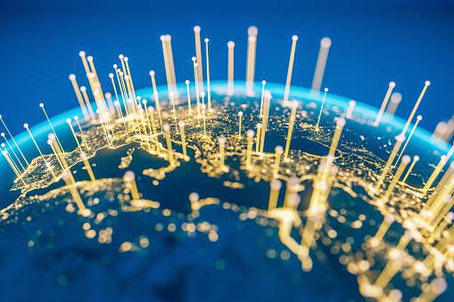 Global Communications (World Map Courtesy of NASA) 1133545557