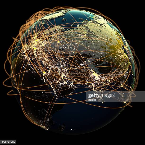 global communications. - world map stock photos and pictures
