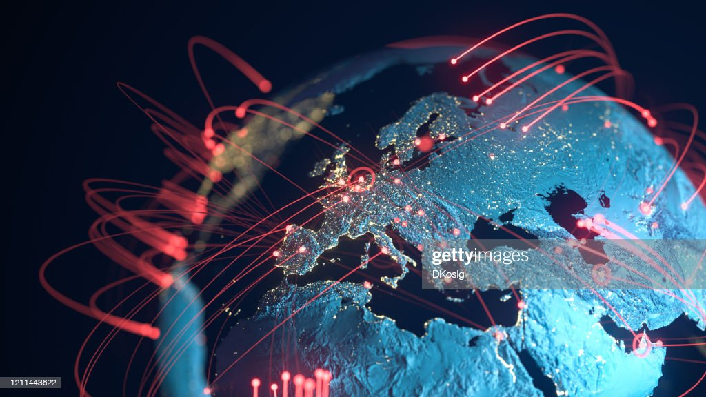 Global Connection Lines - Data Exchange, Pandemic, Computer Virus : Stock Photo