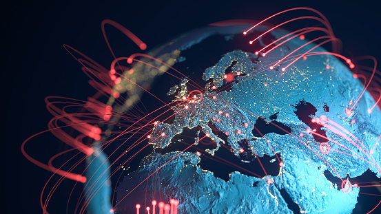 Global Connection Lines - Data Exchange, Pandemic, Computer Virus 1211443622