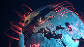 Global Connection Lines - Data Exchange, Pandemic, Computer Virus