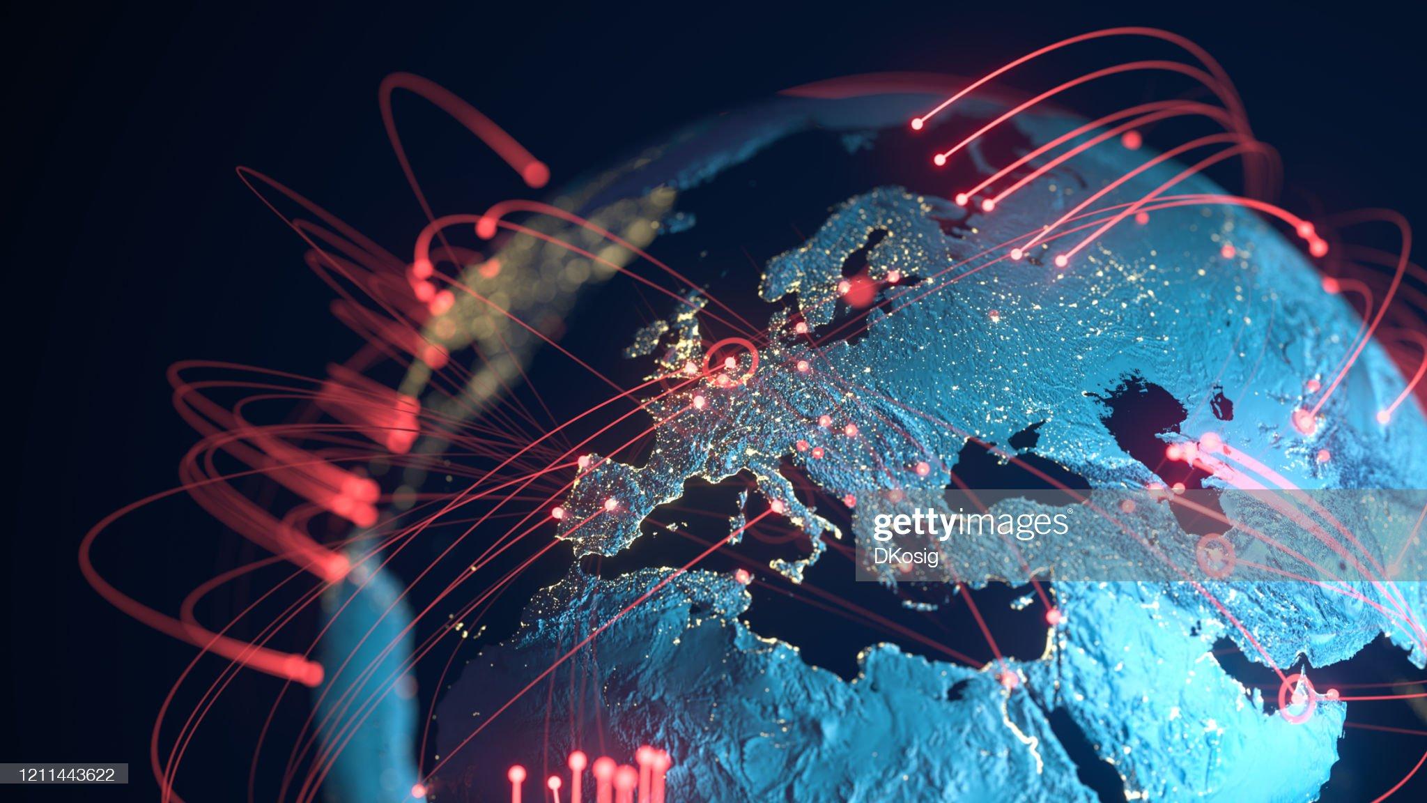 Global Connection Lines - Échange de données, Pandémie, Virus Informatique : Photo