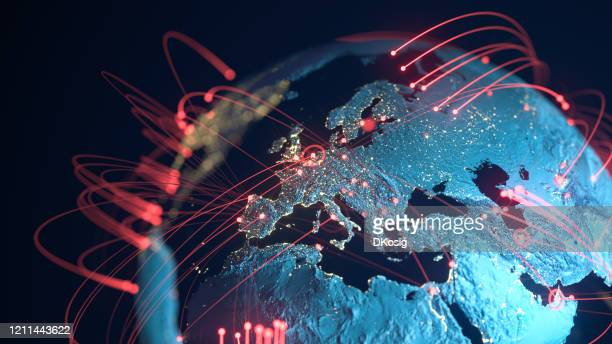global connection lines - data exchange, pandemic, computer virus - technology stockfoto's en -beelden