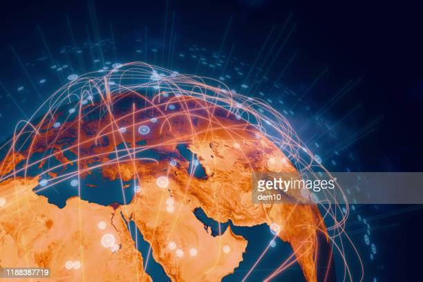 global connection lines - middle east stock pictures, royalty-free photos & images