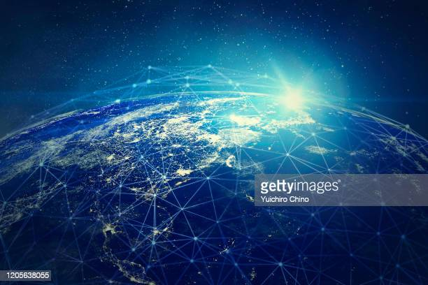 global connection network (world map credit to nasa) - data stock pictures, royalty-free photos & images
