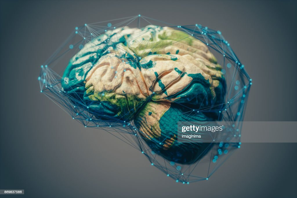 World map textured human brain covered with abstract connections.