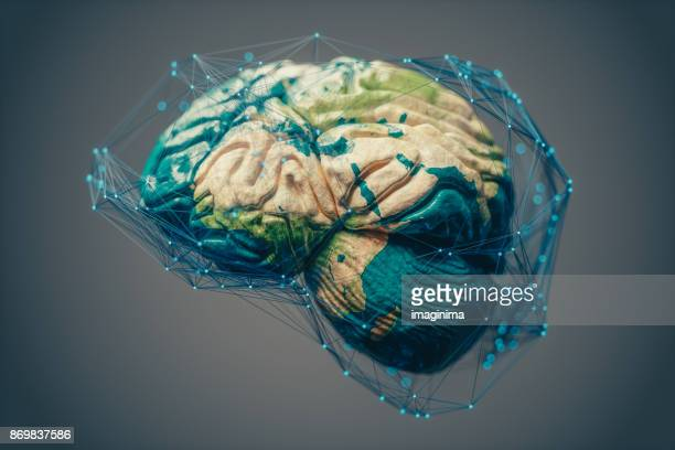 global connections, artificial intelligence and cloud computing - world map stock photos and pictures
