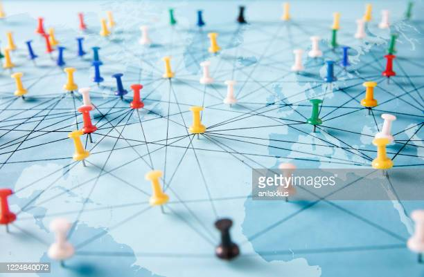 global connections - push pin stock pictures, royalty-free photos & images