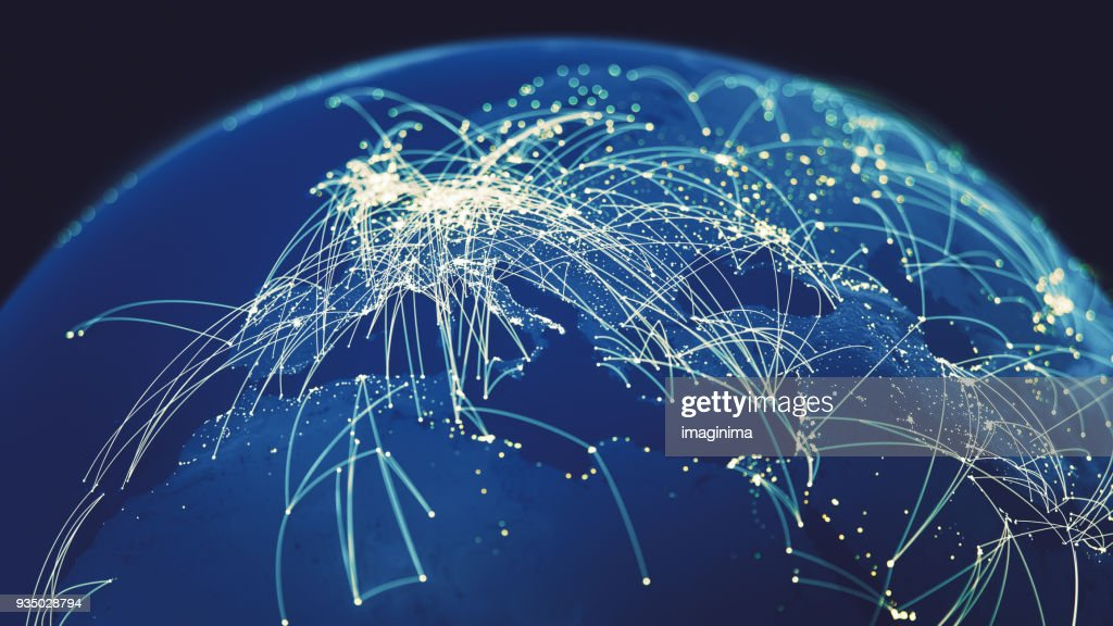 Global Connections (World map texture credits to NASA) : Stock Photo