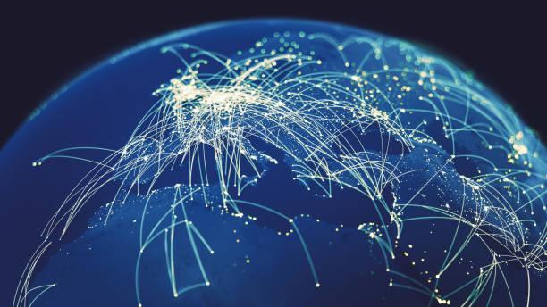 全球連接 (世界地圖紋理學分美國宇航局) - 聯繫 個照片及圖片檔
