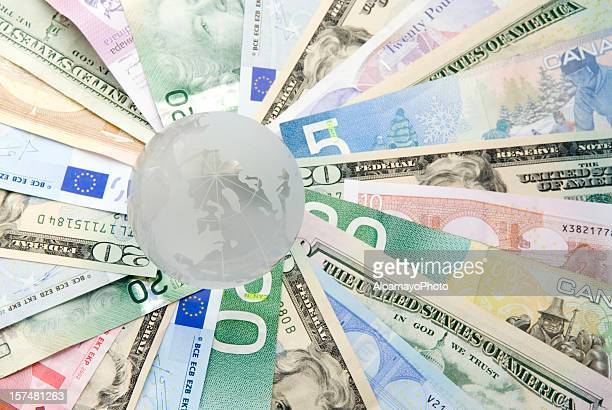 global currencies, concept with globe - i - currency symbol stock pictures, royalty-free photos & images