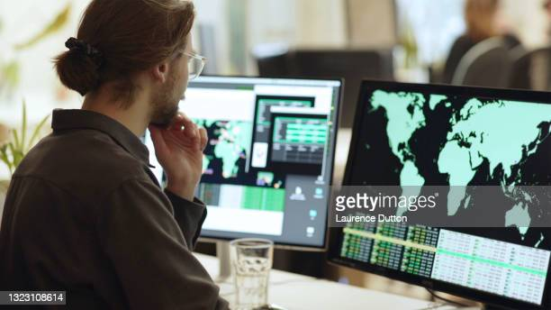 global data office screens - global stock pictures, royalty-free photos & images