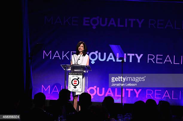 Global Director of Equality Now Yasmeen Hassan speaks onstage during The Equality Now's Make Equality Reality Event at Montage Beverly Hills on...