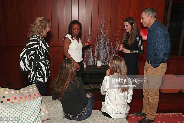 Global Director of Hardware Marketing at Google Deirdre Findlay demonstrates the Google Home to guests at the Google Home Sundance dinner on January...