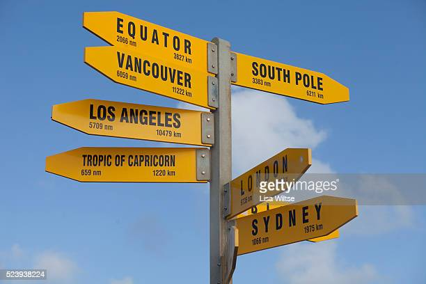 Global distances highlighted on a famous signpost at the Northern end of New Zealand Photo by Lisa Wiltse