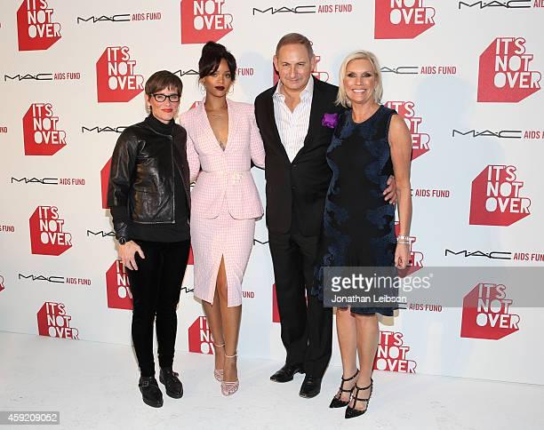 Global Executive Director of the MAC AIDS Fund Nancy Mahon MAC Viva Glam Spokesperson Rihanna and Chairman of the MAC AIDS Fund and Group President...