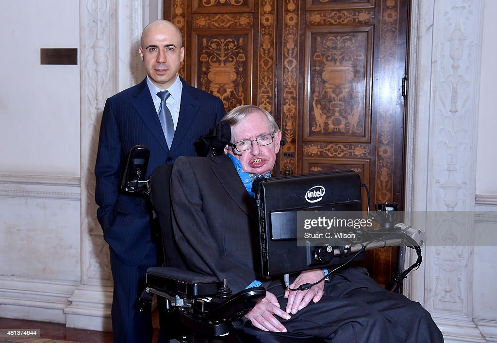 Yuri Milner And Stephen Hawking Host Press Conference On The Breakthrough Life In The Universe Initiatives : News Photo
