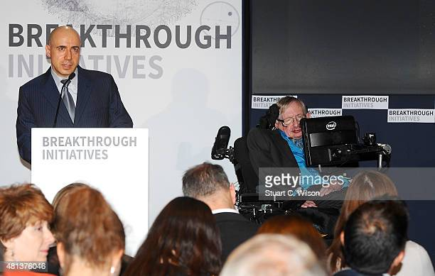 Global Founder Yuri Milner and Theoretical Physicist Stephen Hawking attend a press conference on the Breakthrough Life in the Universe Initiatives...