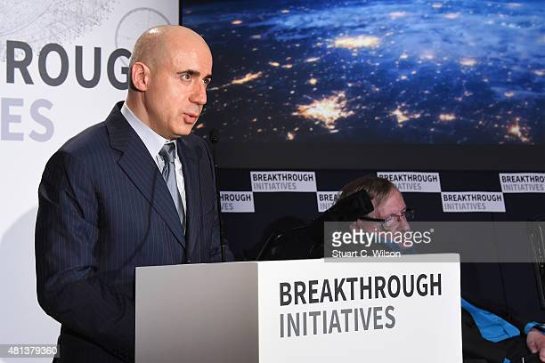 Global Founder Yuri Milner and Theoretical Physicist Stephen Hawking attends a press conference on the Breakthrough Life in the Universe Initiatives...