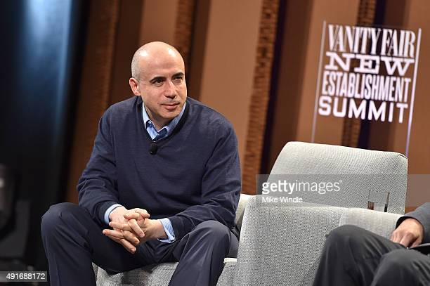 Global Founder Yuri Milner speaks onstage during 'Are We Alone in the Universe' at the Vanity Fair New Establishment Summit at Yerba Buena Center for...