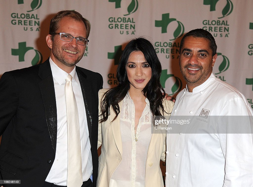Global Green President Matt Petersen, Celebrity Chef Michael Mina and Musician Michelle Branch pose backstage during the Global Green Gorgeous & Green Gala at The Bently Reserve on December 11, 2012 in San Francisco, California.