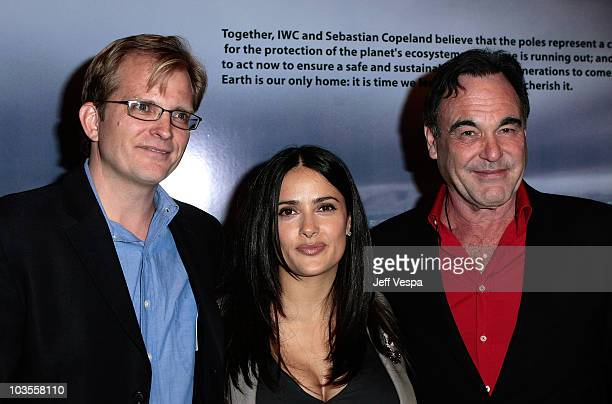 Global Green USA CEO Matt Petersen actress/producer Salma Hayek and writer/director/producer Oliver Stone attend Global Green USA's 5th Annual Pre...