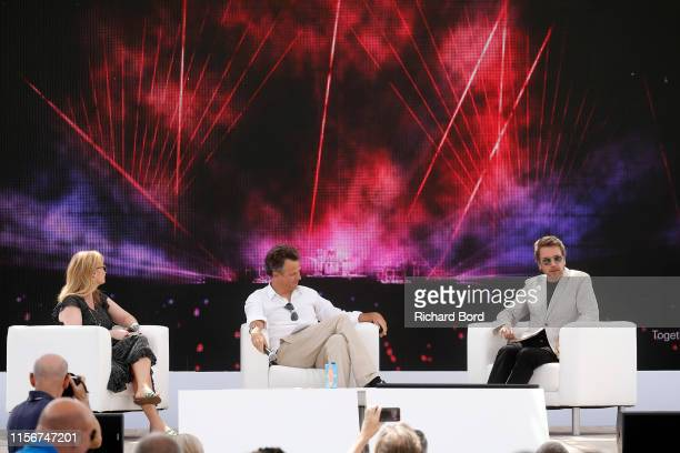 Global Head of Brand Andrea Newman Chairman and CEO of Publicis Groupe Arthur Sadoun and JeanMichel Jarre speak on stage during JeanMichel Jarre X...