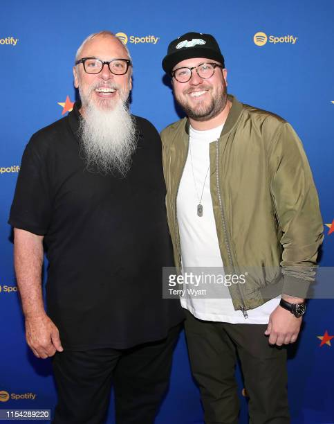 Global Head of Country Music at Spotify John Marks and Mitchell Tenpenny visit the Spotify House during CMA Fest at Ole Red on June 06 2019 in...