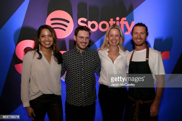 Global Head of Partner Solutions Danielle Lee Musician Dustin Tebbutt Chef Brendan Cato and Director of Sales AU/NZ Andrea Ingham attend the Spotify...