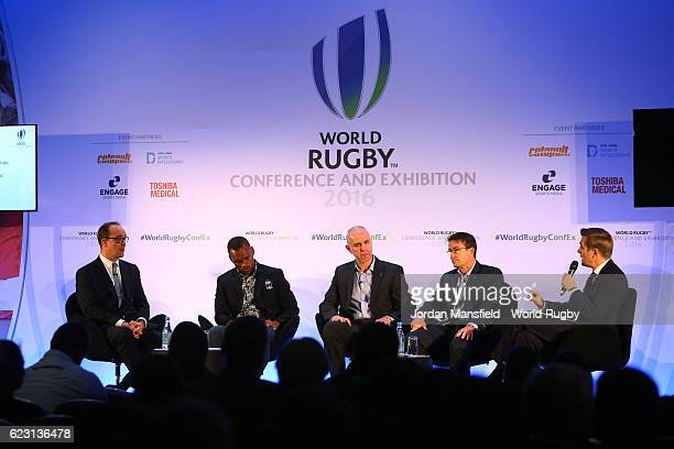 Global Head of Sponsorship and Events at HSBC Giles Morgan, Fiji Rugby Sevens Captain Osea Kolinisau, Head of Competitions and Performance at World...