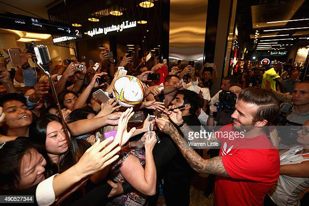 Global icon and footballing legend David Beckham signs autographs as he opened the new adidas HomeCourt concept store in the Mall of Emirates Dubai...