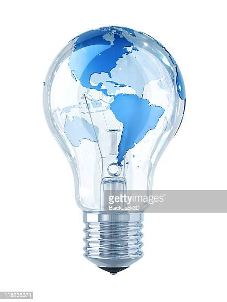 Global Idea! Light Bulb with World Map