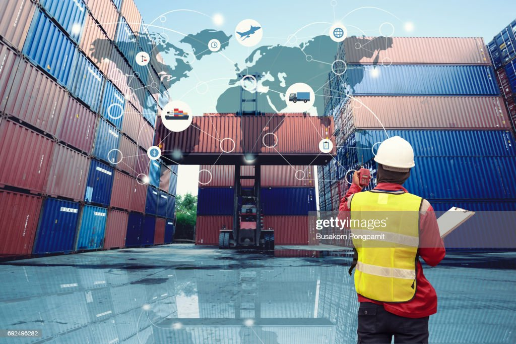 Global logistics network transportation, Map global logistics partnership connection of Container Cargo freight ship for Logistics Import Export background : Stock Photo