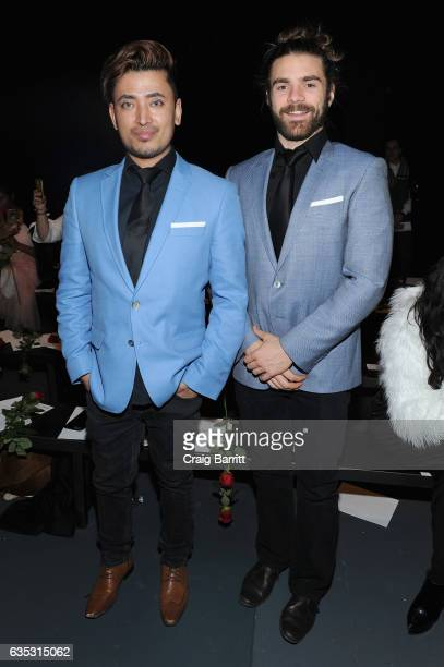Global Luxury Ambassador Pritan Ambroase and Derick Welsh attend the John Paul Ataker Fall Winter 2017 Runway Show at Pier 59 on February 14 2017 in...