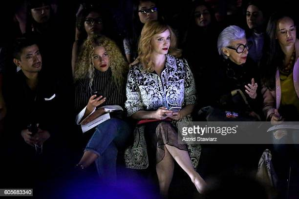 Global Luxury Brand Ambassador Pritan Ambroase Christina Hendricks and Iris Apfel attend the Naeem Khan fashion show during New York Fashion Week The...