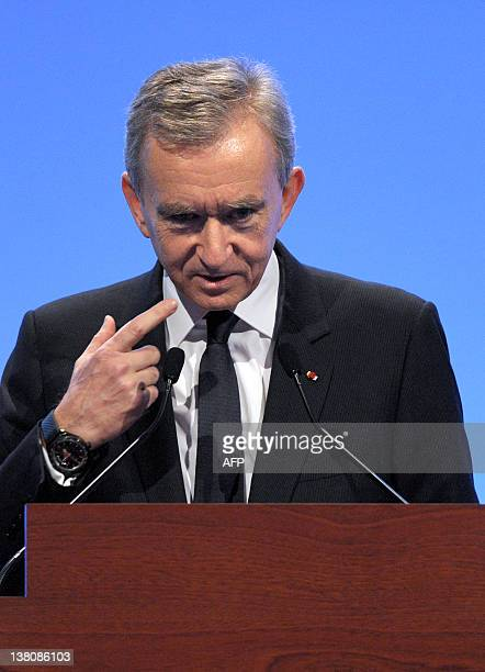 Global Luxury retailer LVMH Chairman Bernard Arnault talks during the group's 2011 full year results presentation on February 2 2012 in Paris AFP...