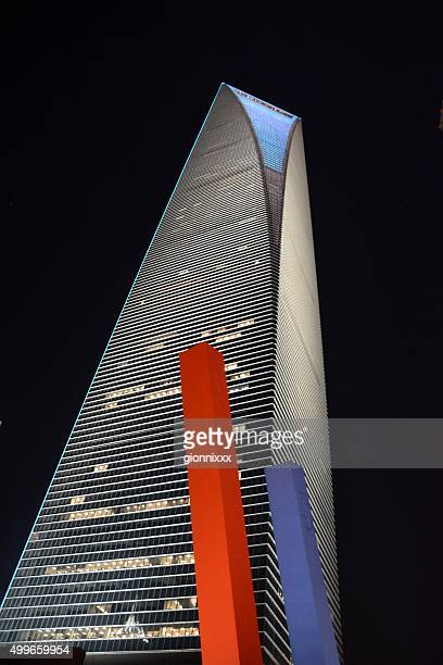 global magnet and shanghai world financial center at night, china - horseshoe magnet stock pictures, royalty-free photos & images