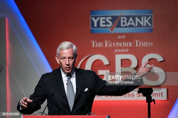 Global Managing Partner of McKinsey Company Dominic Barton speaks during a Global Business Summit in New Delhi on February 23 2018 / AFP PHOTO /...