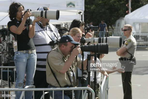 Global media work at pop singer Michael Jackson's child molestation trial at Santa Barbara County Court in Santa Maria